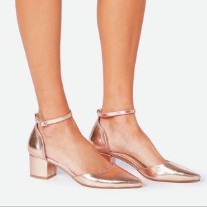 Justfab block heels rose gold nwot